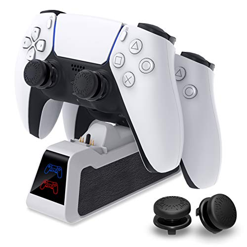 Charger Stand for PS5 DualSense Wireless Controller, MENEEA Controller Fast Dual Charging Dock Station with Thumb Grip, LED Indicator and Type-C Date Cable for Sony Playstation 5 White