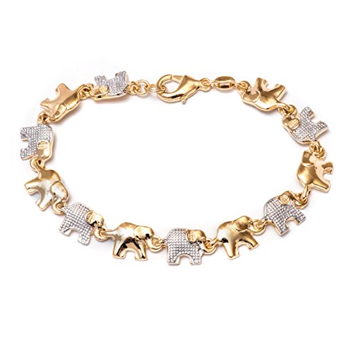 Barzel 18K Gold Plated Elephant Bracelets (Many Different Elephant Options) (2-Tone BR2173)