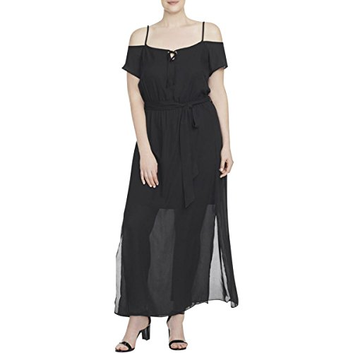 Cold Shoulder Plus Size Black Chiffon Maxi Dress - Size 22 / XL