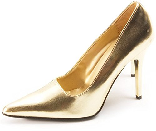 Classic Metallic Pumps (The Highest Heel Women's CLASSIC , Gold Metallic PU , Pump, 7.5 B(M) US)