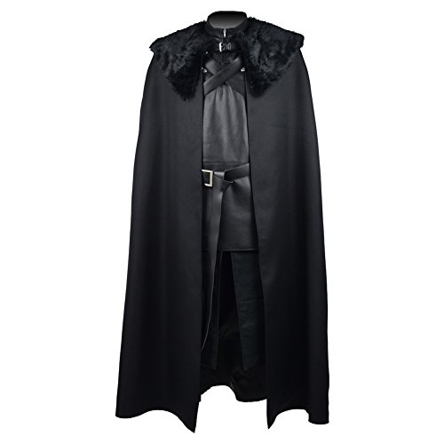 Watch Man Costume Of The Night's (Men's Black Lord Commander Halloween Costumes with Cloak The Night's Watch Cosplay Set for Jon)