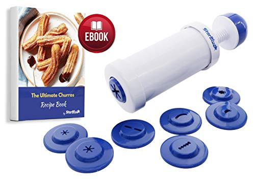 StarBlue Churrera Churro Maker with Free Recipe e-Book - Easy Tool for deep Dry Churro in 8 Difference Shapes