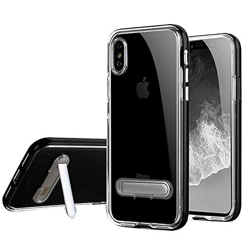 HONTECH Compatible iPhone Xs Max 6.5 2018 Case, Slim Fit Clear TPU Backpanel Hard Frame Magnetic Metal Kickstand Cover, Black