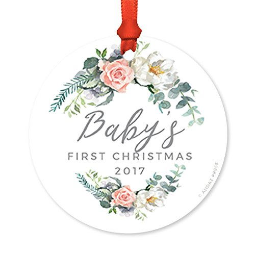 Andaz Press Round Metal Christmas Tree Ornament, Baby's First Christmas 2018, Peach Coral Floral, 1-Pack, Includes Ribbon and Gift Bag, Girl Baby Shower Decorations (Tree Chocolate Coral)