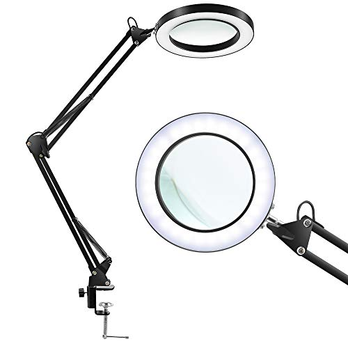 LANCOSC Magnifying Glass Desk Lamp with Clamp - White/Warm White Lighted 5-Diopter Magnifier Lens - Adjustable Metal Swivel Arm LED Light for Reading, Crafts, Professional Tasks (Black)