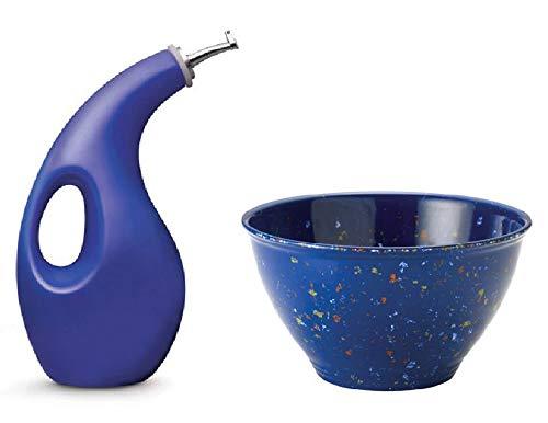 (Rachael Ray Stoneware EVOO Oil Dispensing Bottle Cruet Blue includes 4-Quart Melamine Garbage Bowl in Blue)
