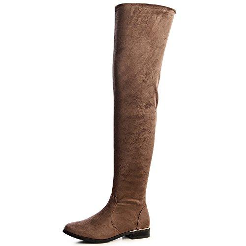 topschuhe24 955 Damen Stiefel Overknee Braun