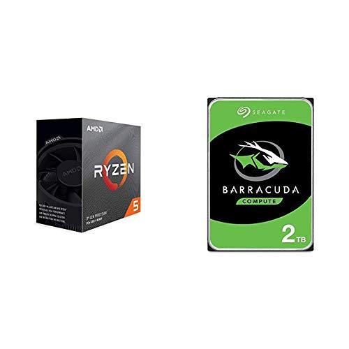 AMD Ryzen 5 3600 6-Core, 12-Thread Unlocked Desktop Processor with Wraith Stealth Cooler & Seagate Barracuda 2TB Internal Hard Drive HDD – 3.5 Inch SATA 6Gb/s 7200 RPM 256MB Cache 3.5-Inch