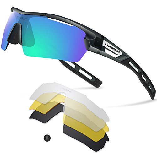 Torege Polarized Sports Sunglasses for Men Women Cycling Running Driving TR033(Transparent Gray&Black tips&Green lens) (Men Sports Sunglasses For)