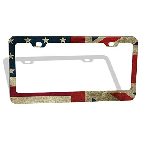 - American Flag and British Flag License Plate Frame Cover 2-Pack Premium Quality Novelty Metal Aluminum Custom License Plate 2 Holes for Cars Womens 12