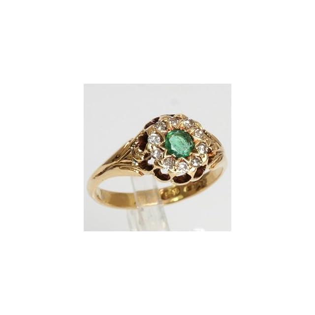 Art Deco 18k Yellow Gold .20 Carat Emerald & Diamond Antique Estate Ring