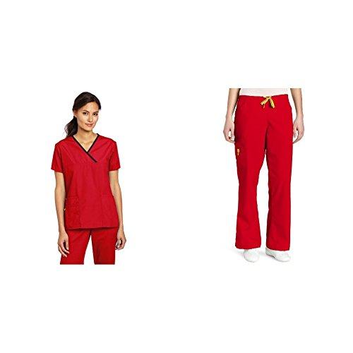 - WonderWink Origins: Charlie Y-Neck Fashion Top & Romeo 6 Pocket Flare Leg Pant
