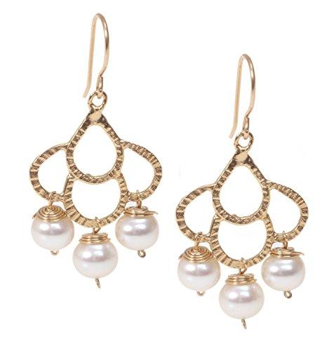Freshwater Pearl Chandelier - Handmade Long Pearls Chandelier Large Dangle Drop Earrings in 14K Gold Plated Brass