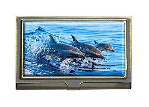 - Dolphin Leaping Out of The Clear Blue Business Card Holders Bank Name Case Holder Bronze Card Credit ID Case Box Pocket Wallet Purse