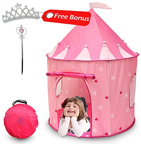 Kiddey Princess Castle Play Tent (Pink) - with Glow in The Dark Stars - Indoor/Outdoor Playhouse for Girls, with Carry Case for Easy Travel and Storage. Great Gift -