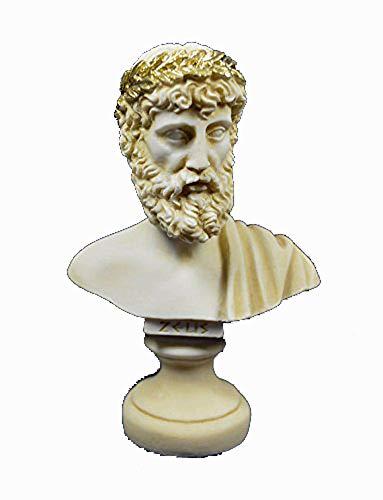 Zeus Sculpture Ancient Greek Bust King of All Gods Statue Aged