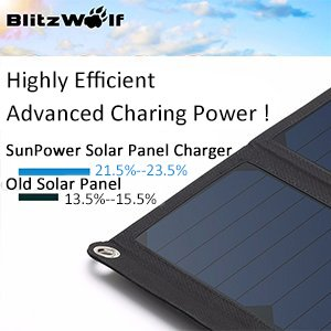 BlitzWolf 15W Solar Charger Portable Dual USB Port for iPhone X 8 Plus 7 6 6s Plus, Samsung Galaxy S8 S7 S6 Edge, Android Powered Foldable Panel Water Resistant High-Efficiency SunPower Charger by BlitzWolf (Image #6)