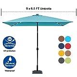 Sundale Outdoor Rectangular Solar Powered 26 LED Lighted Patio Umbrella Table Market Umbrella with Crank and Push Button Tilt for Garden, Deck, Backyard, Pool, 6 Alu. Ribs, 9 by 6.5-Feet (Blue)