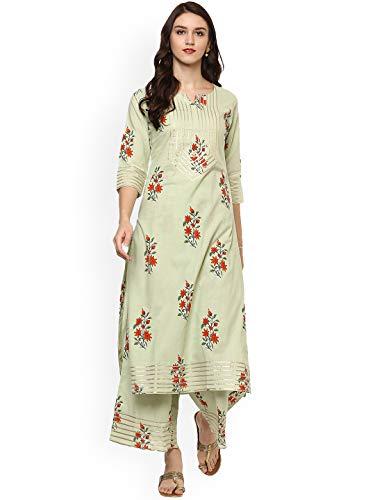 Women Green & Mustard Orange Printed Kurta with Palazzos Full Set Dream Angel Fashion - Designer Salwar Kurta