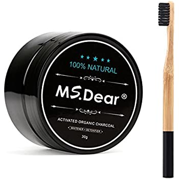 MS.DEAR Natural & Organic Teeth Whitening Bamboo Activated Charcoal Powder + Toothbrush Oral Care Set 1.05 oz