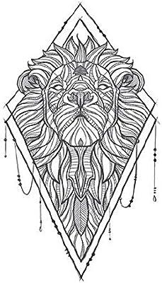 Yangll León Geométrico Etiqueta Engomada del Tatuaje Temporal ...