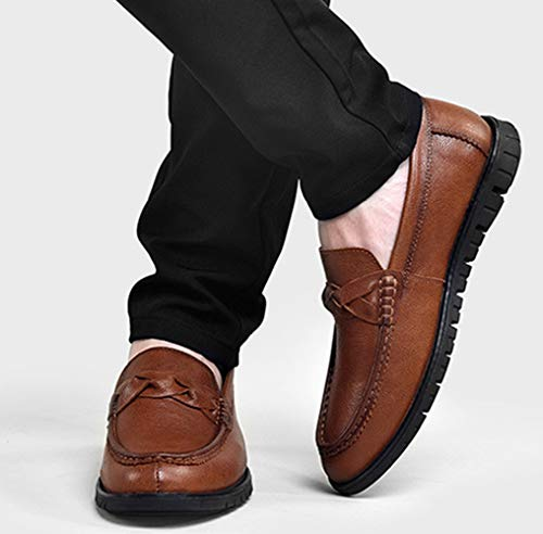 Leather Black Shoes Casual Scarpe Fashion Da Lazy Mocassini Brown MYXUA Business Uomo Brown aF80Tx
