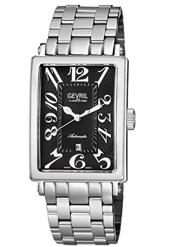 Gevril Avenue of Americas Mens Swiss Automatic Rectangle Stainless Steel Bracelet Watch, (Model: 5061B)