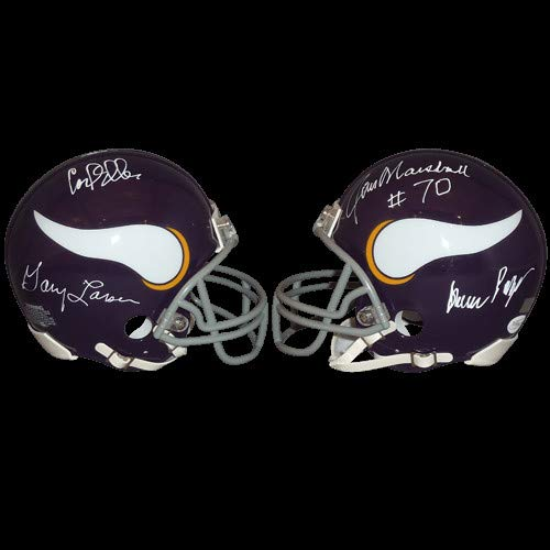 (Purple People Eaters Carl Eller, Gary Larsen, Jim Marshall, Alan Page Autographed Signed Auto Minnesota Vikings Mini Helmet - Certified)
