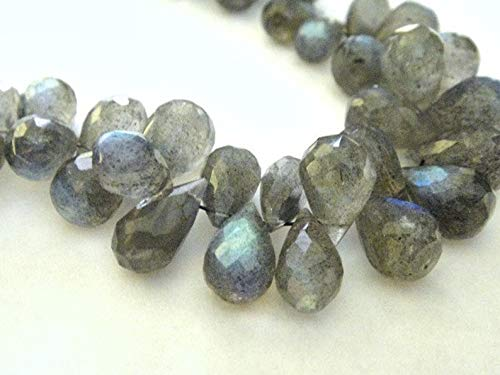 - Unique Selection Beads - Labradorite Briolettes, Faceted Teardrop Tear Drop Gemstone Beads, 2 Matched Pairs Lots of Blue Flash 8-9mm