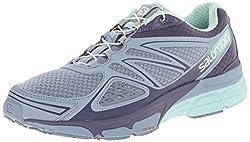 Salomon Women's X Scream 3d Running Shoe, Stone Blueartist Greylucite Green, 8.5 M Us