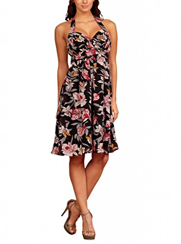 Vestito My Senza Evening Maniche Flowers Halterneck Black Floreale Dress Donna Eq461qBw