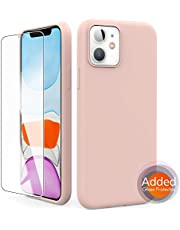 "AhaStyle Silicone Case Soft Liquid Silicone Slim Rubber Protective Case Cover [Added Screen Protector] Compatible with iPhone 11, iPhone 11 Pro, iPhone 11 Pro MAX (2019) (iPhone 11 6.1"", Pink)"