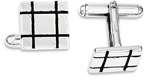 ICE CARATS 925 Sterling Silver Black Enamel Groove Square Cuff Links Mens Cufflinks Man Link Fine Jewelry Dad Mens Gift Set by ICE CARATS