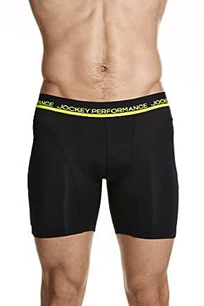 Jockey Men's Underwear Dry Mesh Mid Length Trunk, Black, S