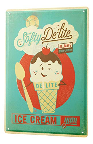 LEotiE SINCE 2004 Tin Sign Metal Plate Decorative Sign Home Decor Plaques Retro Wall Sign Soft Serve ice Cream Cherry Chocolate Spoon ice Cream Cone Metal Plate 8X12