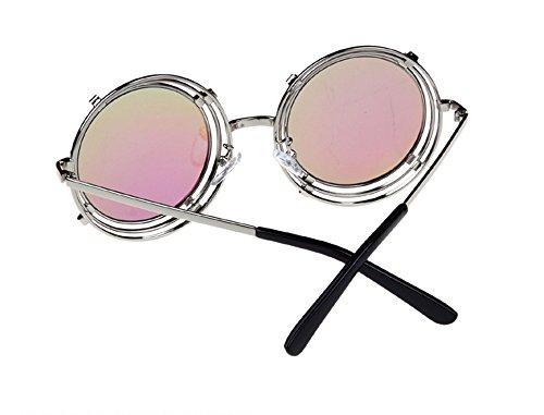 de reticulado Pistola marco Color Gafas de clásico de marco La Steampunk reflexivo de redondo de Verde Película metal sol tEq4wxq7a