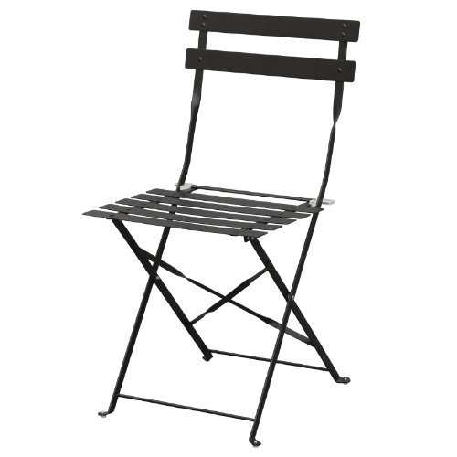 Bolero GH553 2X Pavement Style Steel Chairs For Indoor And Outdoor, 800 mm x 387 mm x 471 mm, Black Nisbets
