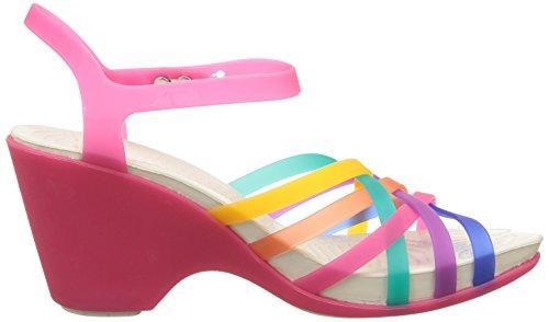 crocs Damen Huarache Sandal Wedg Durchgängies Plateau Ballerinas Mehrfarbig (Multi/Candy Pink)