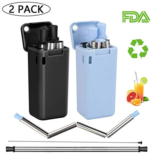 (Collapsible Reusable Straws, Made of Stainless Steel Folding Straws and Food-Grade Silicone with Hard Case and Cleaning Brush, for Home, Travel, Party 2 Pack)