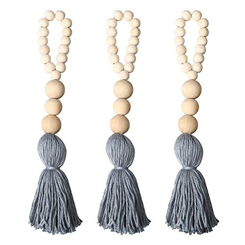 Pengxiaomei 3pcs Farmhouse Beads with Tassels, Wall Hanging Decor Wood Bead Graland Natural Prayer Beads (Wooden Door Hanging Beads)