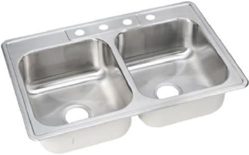 Stainless Steel Elkay NLB33224 Neptune 33-by-22-by-8-Inch Double Bowl Kitchen Sink