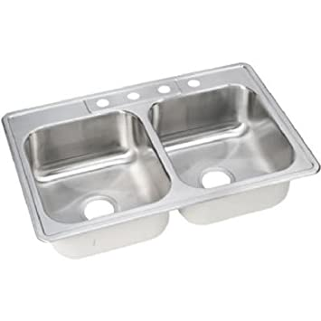 Elkay NLB33224 Neptune 33-by-22-by-8-Inch Double Bowl Kitchen Sink ...