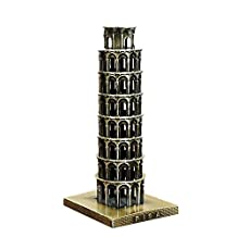 GraceAngie 6.3 Inch (16cm) Bronze Tone Metal Leaning Tower of Pisa Figurine Statue Vintage 3D Model Decor Gifts