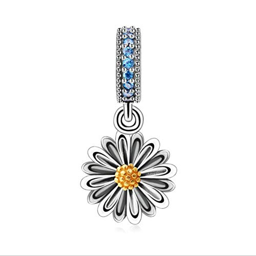 925 Sterling Silver Sunflower Charm Flower Charm Love Charm Anniversary Charm for Pandora Charm Bracelet ()