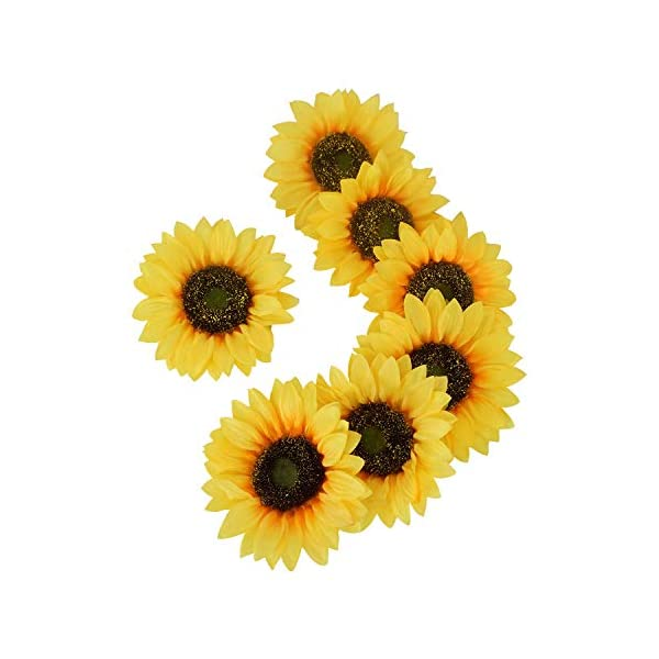 HOMDECO Artificial Silk Sunflower Heads for Wedding Home Party Decoration Bride Holding Flowers Garden Craft Art Wreath Decorative, Pack of 12 (Yellow-5.5 inch)