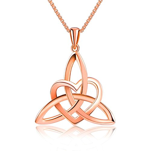 (BGTY S925 Sterling Silver Celtic Knot Triangle Vintage Love Heart Pendant Necklace (Rose Gold Color))