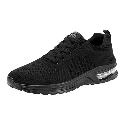 (FRENDLY Men's Running Shoes Fashion Mesh Breathable Sneakers Non-Slip Outdoor Sports Shoes Casual Walking Shoes Black)