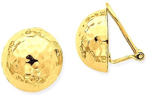 14k Yellow Gold Omega Clip 14mm Hammered Non Pierced On Earrings Ball Button Fine Jewelry Gifts For Women For Her by ICE CARATS (Image #1)