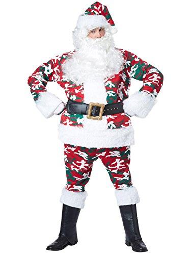 California Costumes Men's Camo Santa Suit Costume, Red/White/Green Large/X-Large -