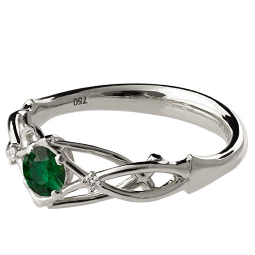 Solid 18K White Gold and Emerald and Diamonds Three Stone Knot Engagement Ring For Women Unique Sets Promise Band Celtic Woven Braided by Doron Merav